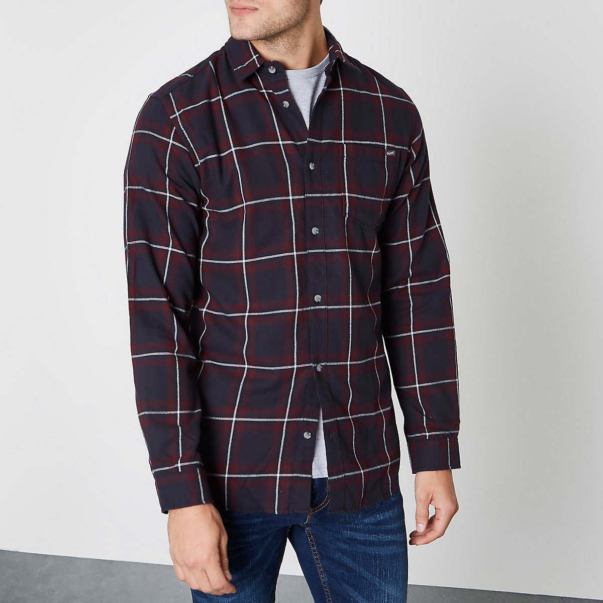 Jack & Jones dark red check long sleeve shirt