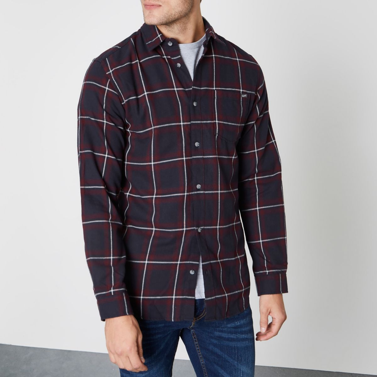 Dark red Jack & Jones check long sleeve shirt