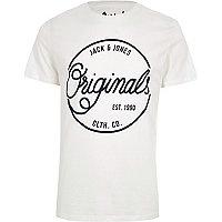 White Jack & Jones 'originals' print T-shirt