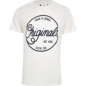 White Jack & Jones 'originals' print T-shirt