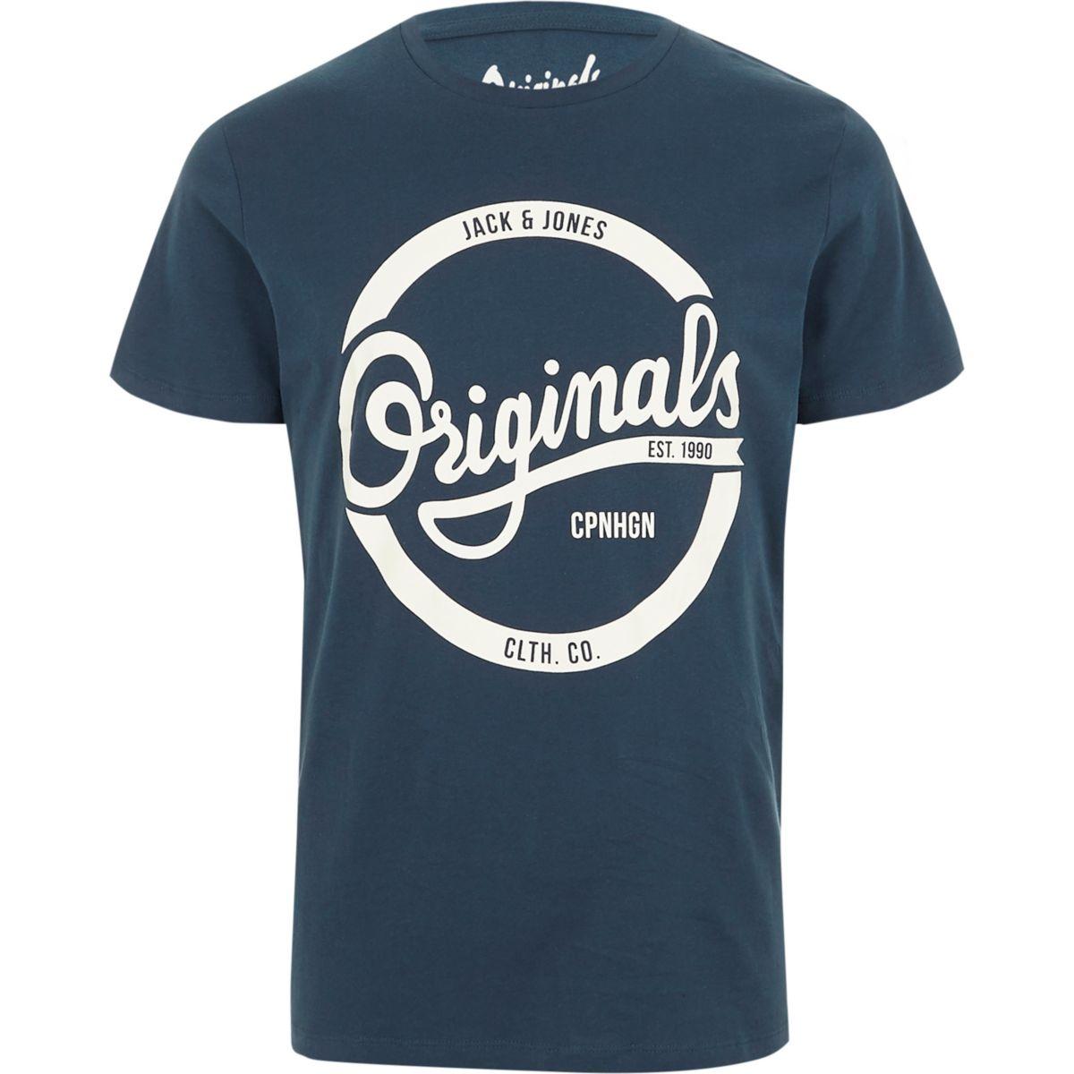 Navy Jack & Jones printed T-shirt