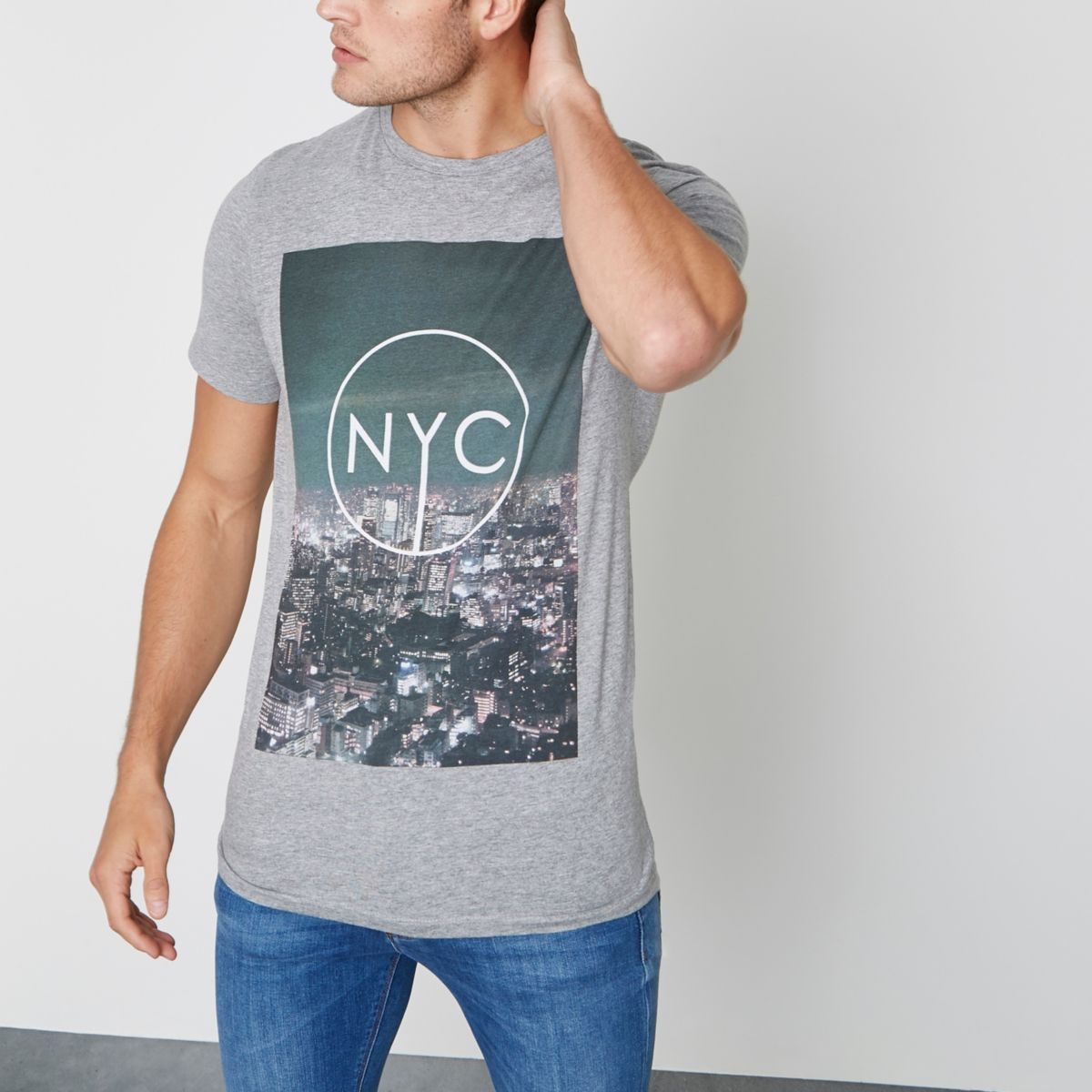 Grey Jack & Jones 'NYC' skyline T-shirt