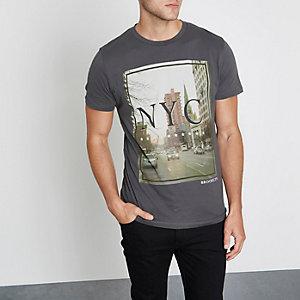 Grey Jack & Jones 'NYC' photo print T-shirt