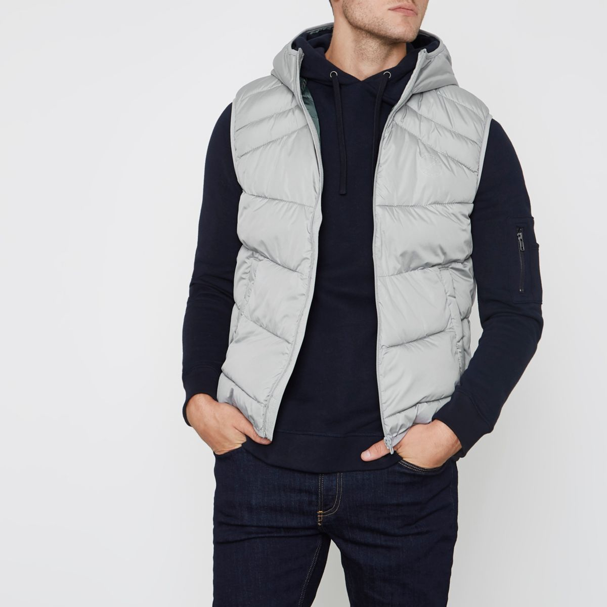 Jack & Jones grey hooded puffer gilet