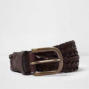 Brown braided leather belt