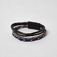 Black mixed texture rope pack bracelet