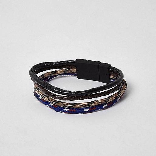 Black mixed texture rope pack bracelet