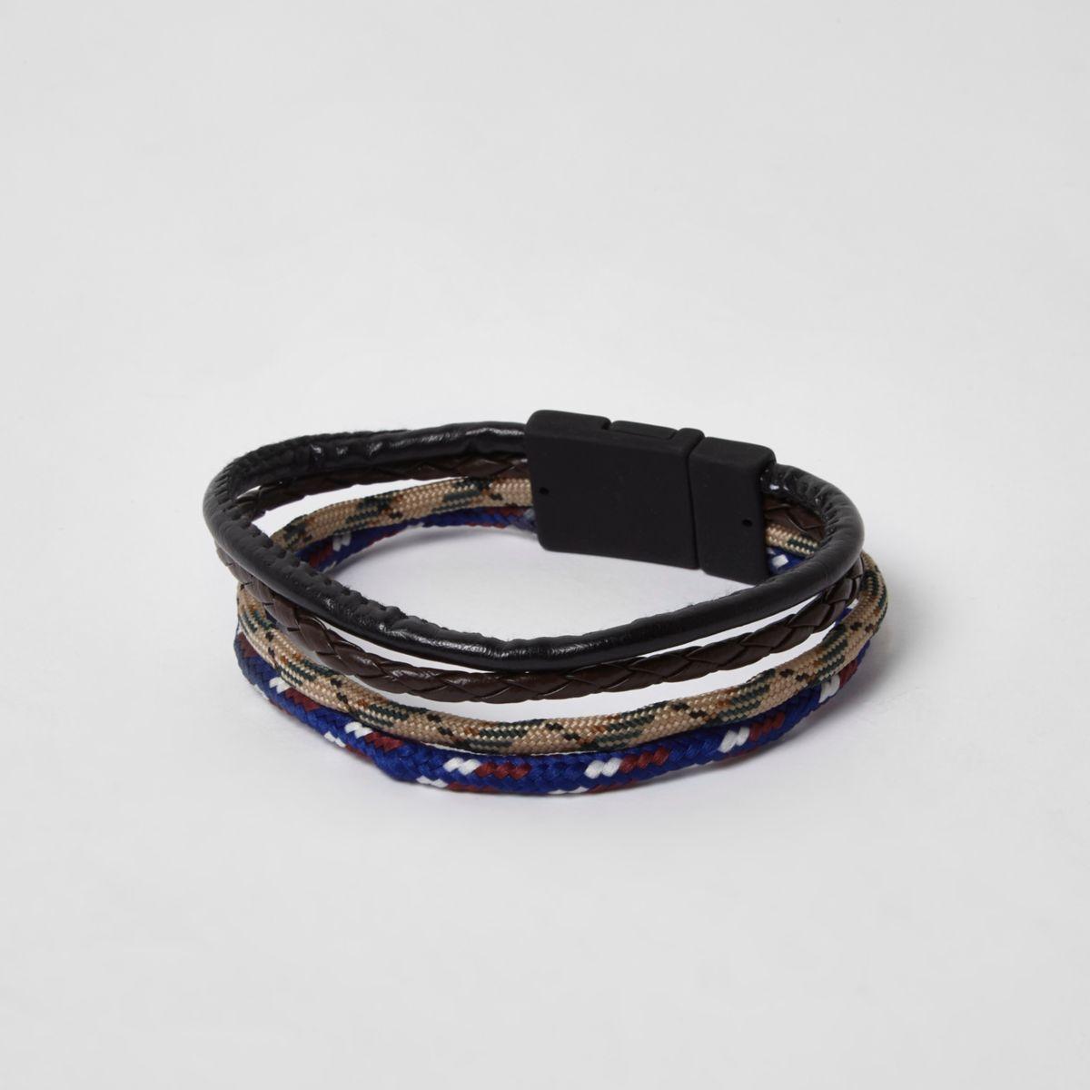 Lot de bracelets cordon noirs texturés