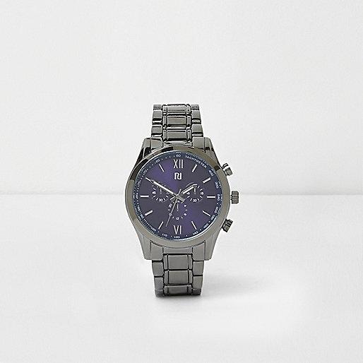 Grey gunmetal chain link watch
