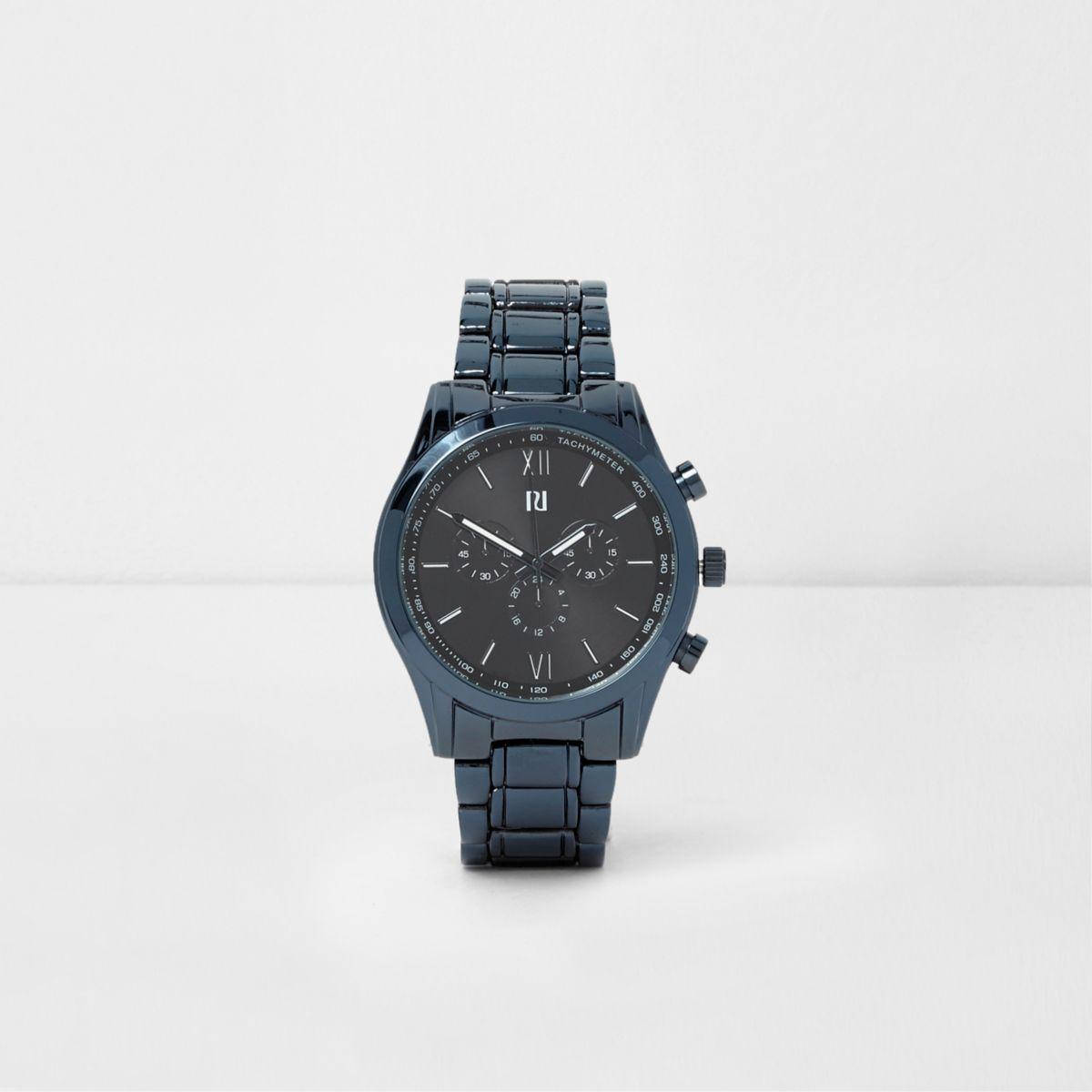 Blue chain link strap watch