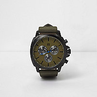 Green gunmetal case watch