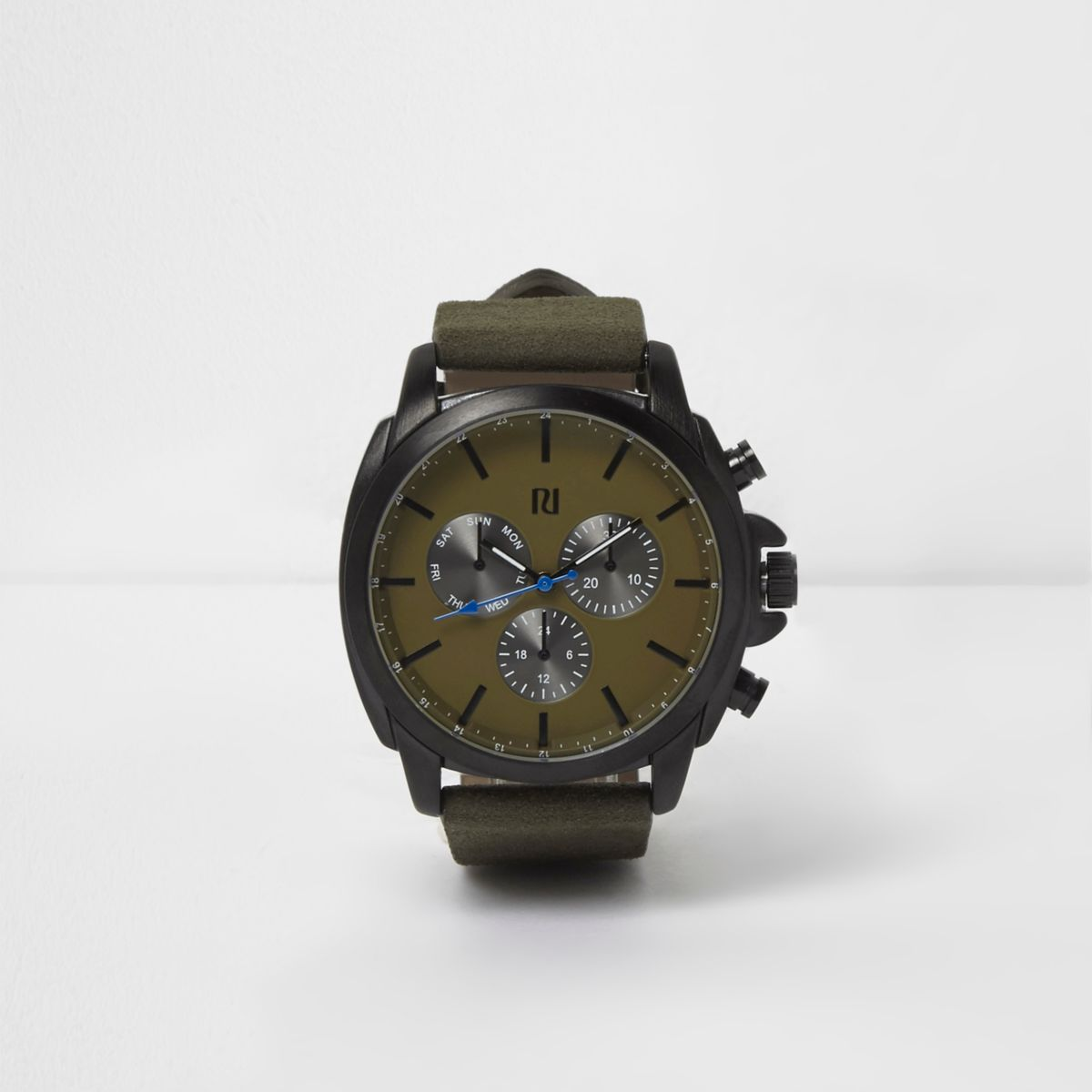 Green gunmetal case watch
