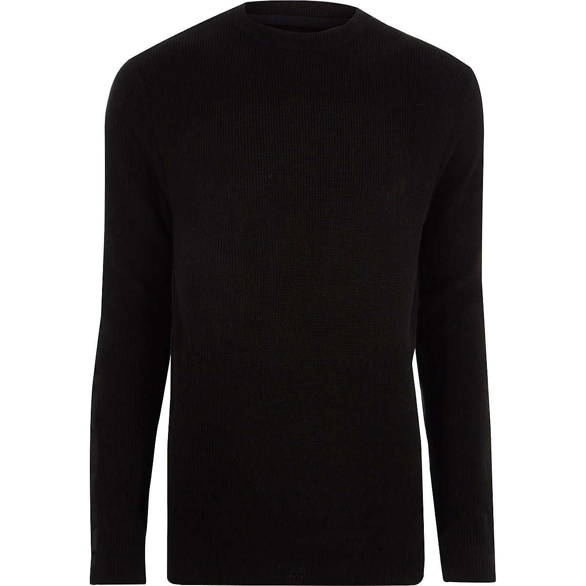 Black ribbed crew neck patch jumper
