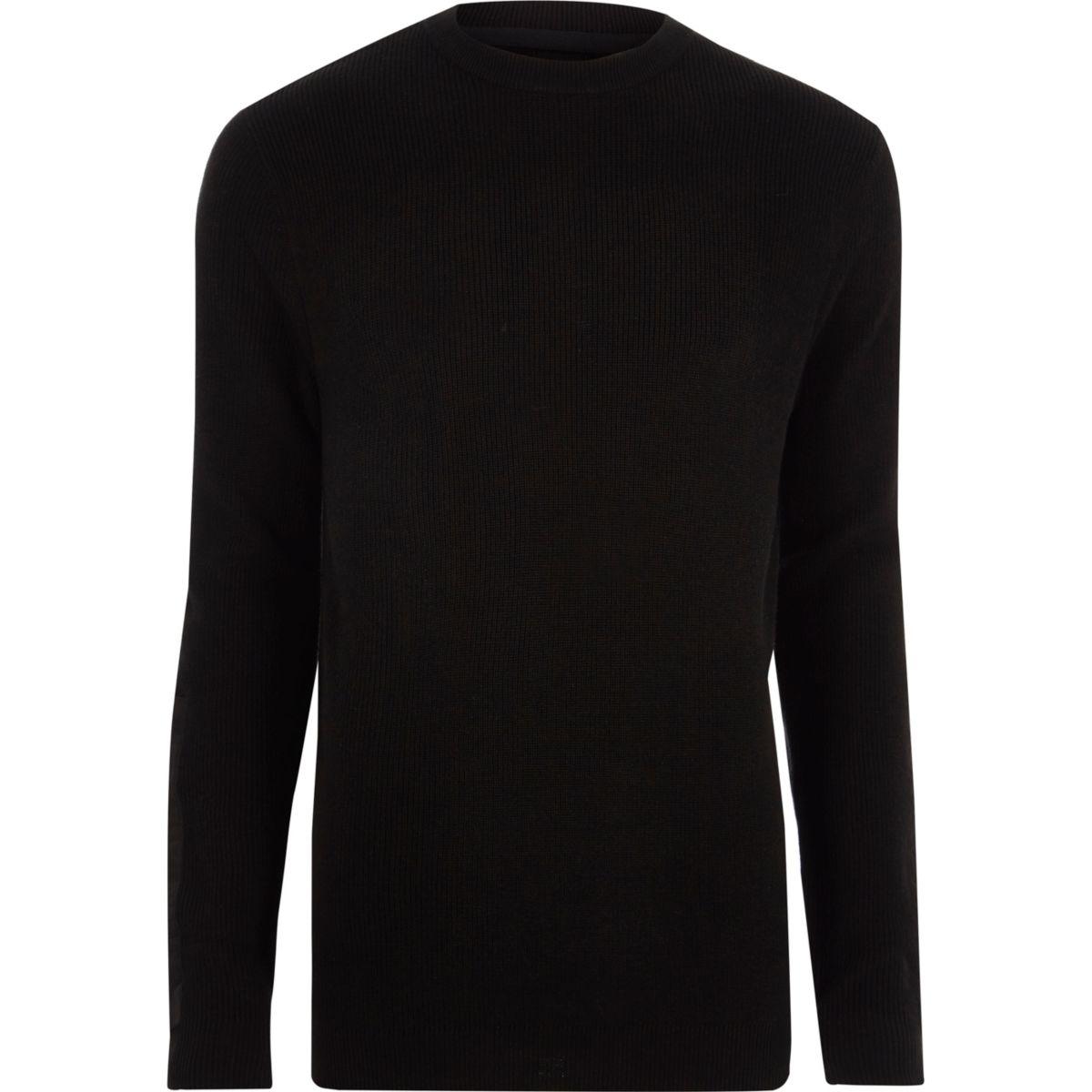 Zwarte geribbelde pullover met ronde hals en patches