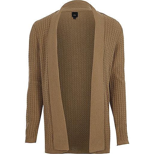 Light brown cable knit open front cardigan
