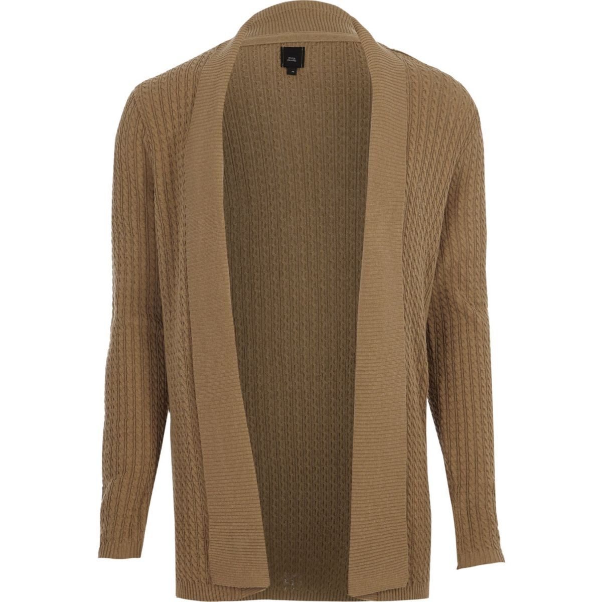 Light brown cable knit open front cardigan - Cardigans - Jumpers ...