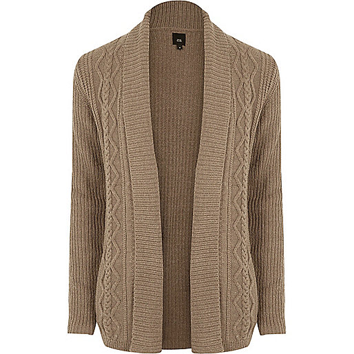 Light brown cable knit regular fit cardigan