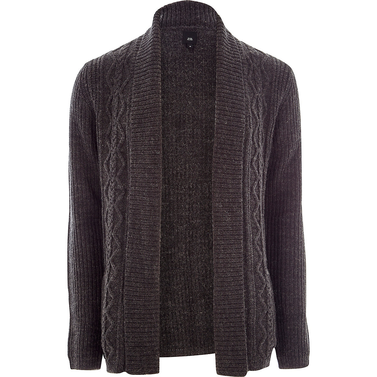 Dark grey cable knit regular fit cardigan