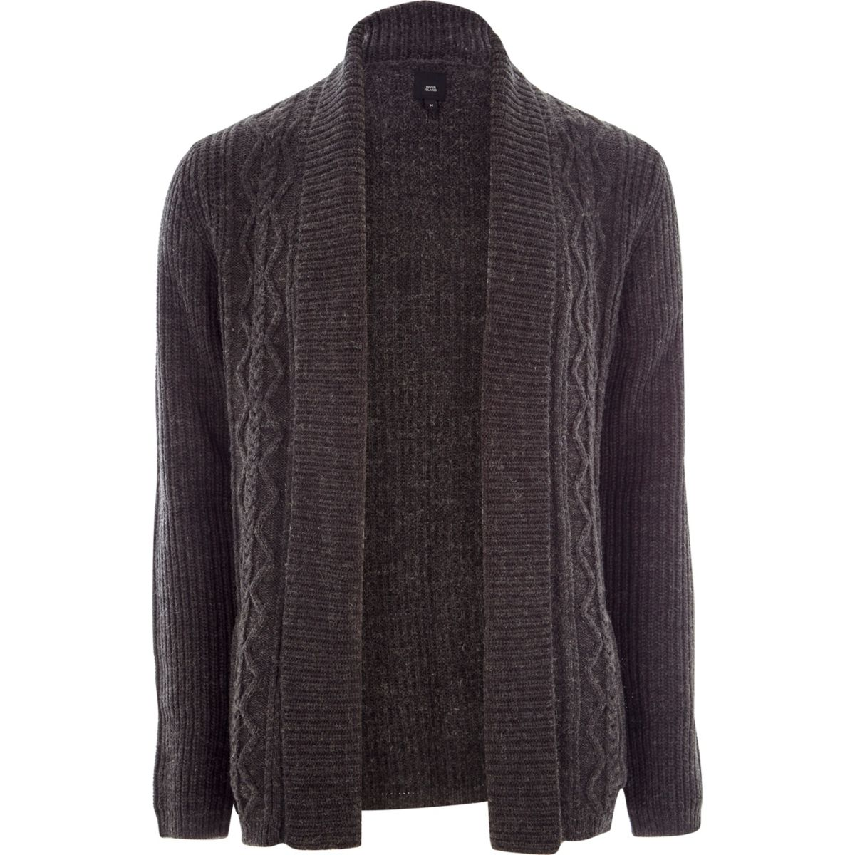 Dark grey cable knit regular fit cardigan