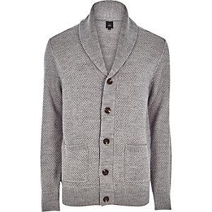 Cardigan en maille gris boutonné à col châle