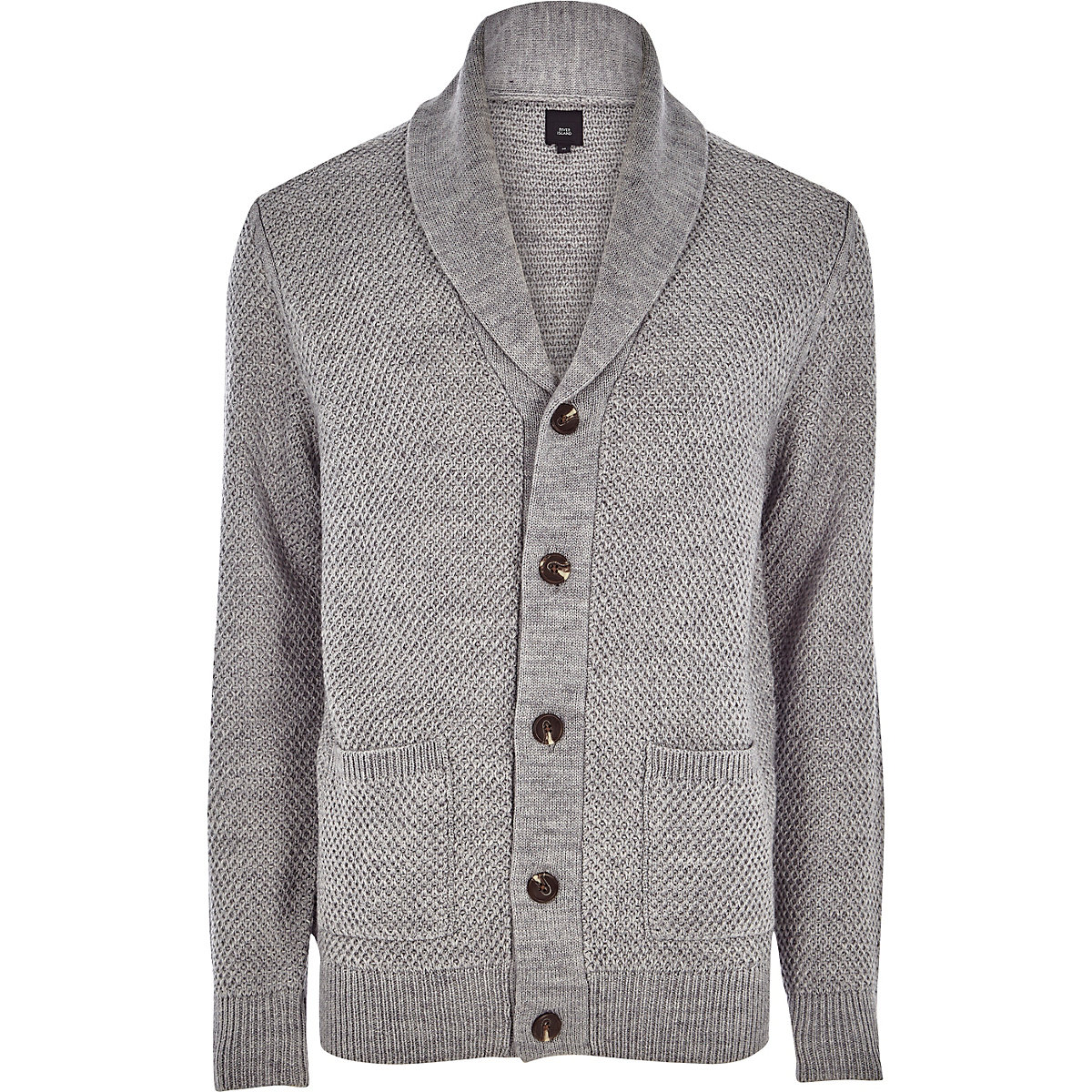 Grey shawl neck button-down knit cardigan