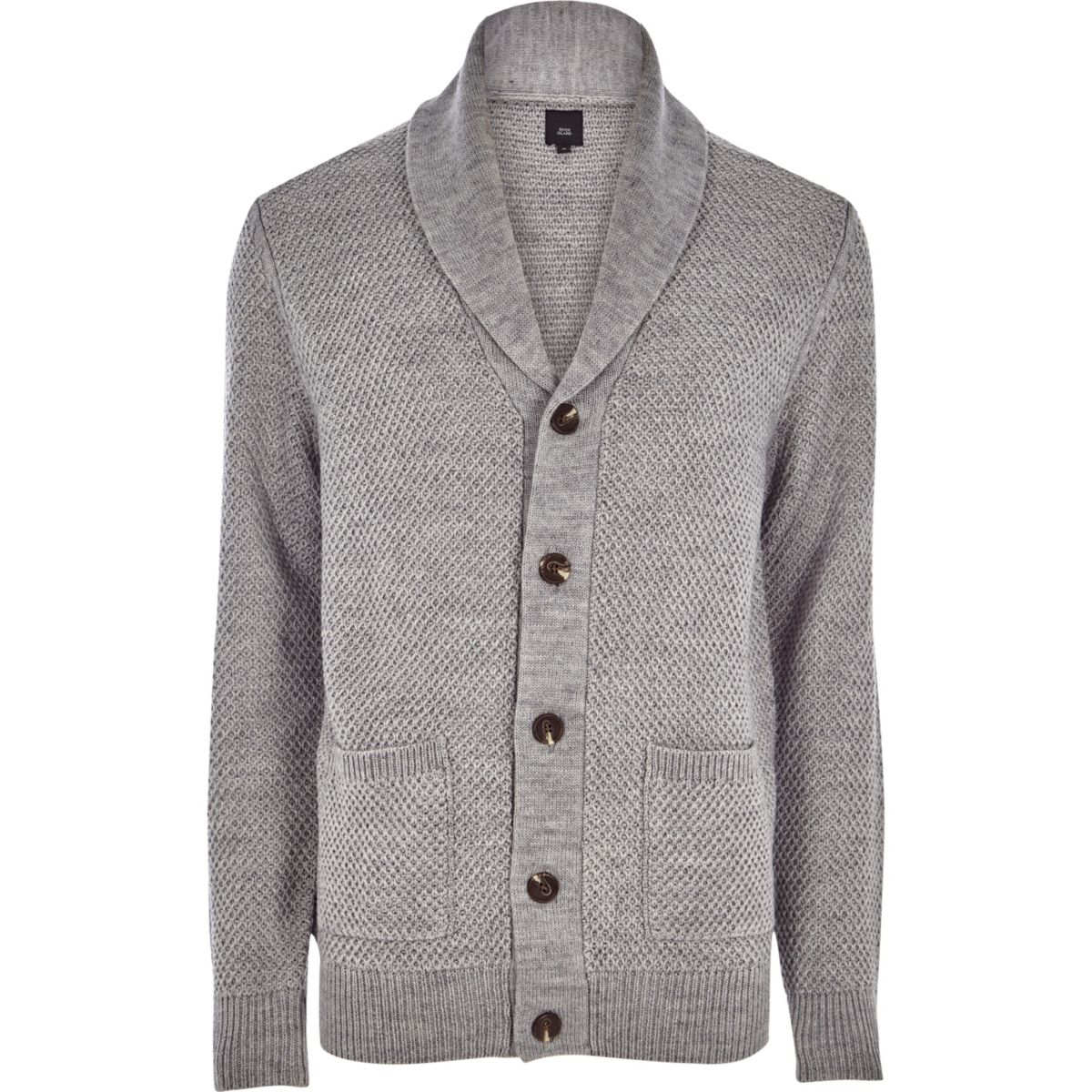Grey shawl neck button-up knit cardigan