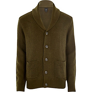 Khaki green shawl neck button-up cardigan