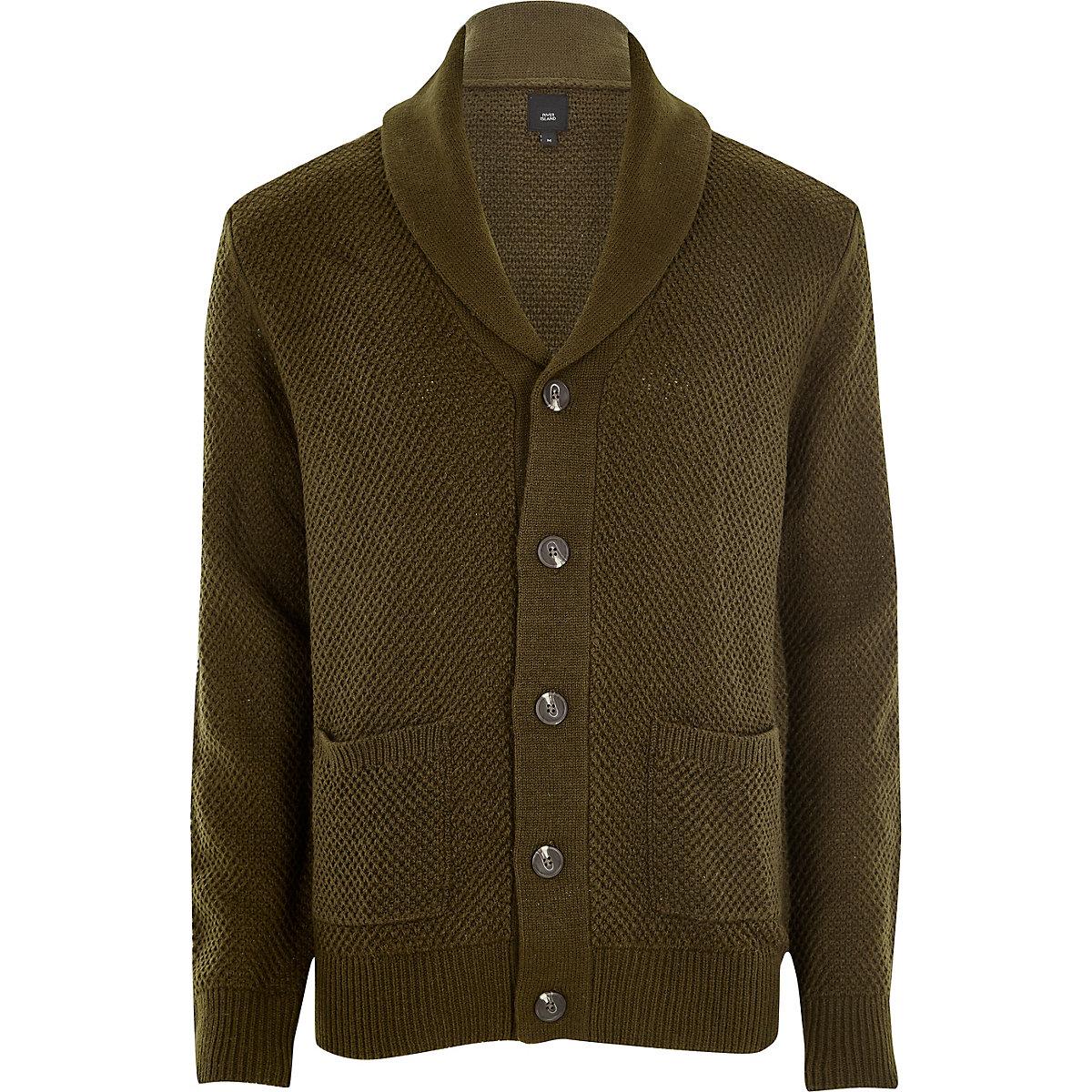 Khaki green shawl neck button-down cardigan