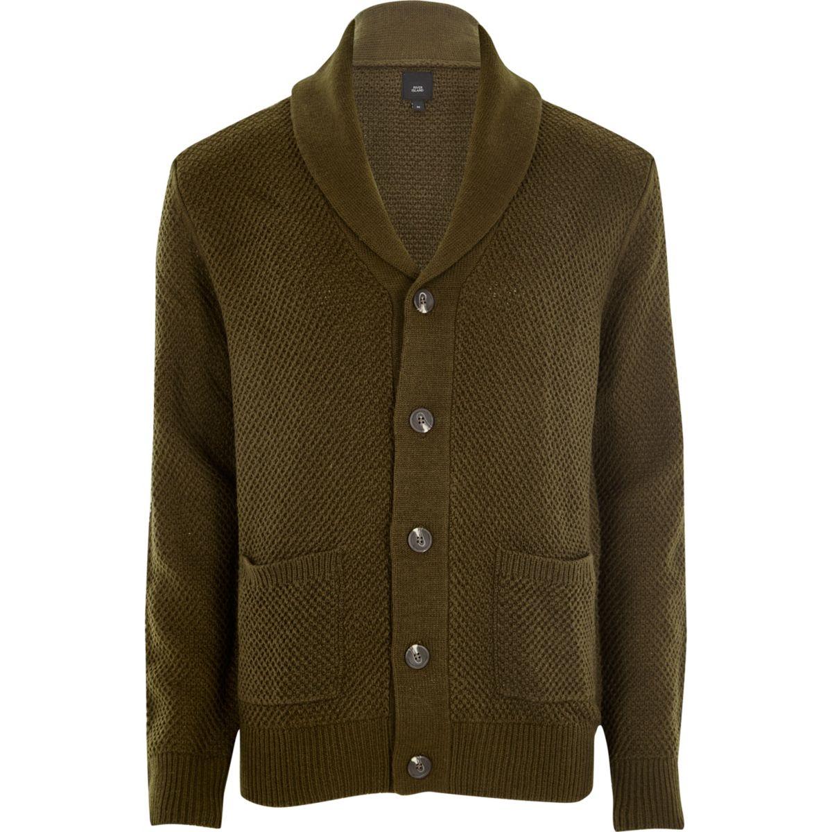 Khaki green shawl neck button-up cardigan