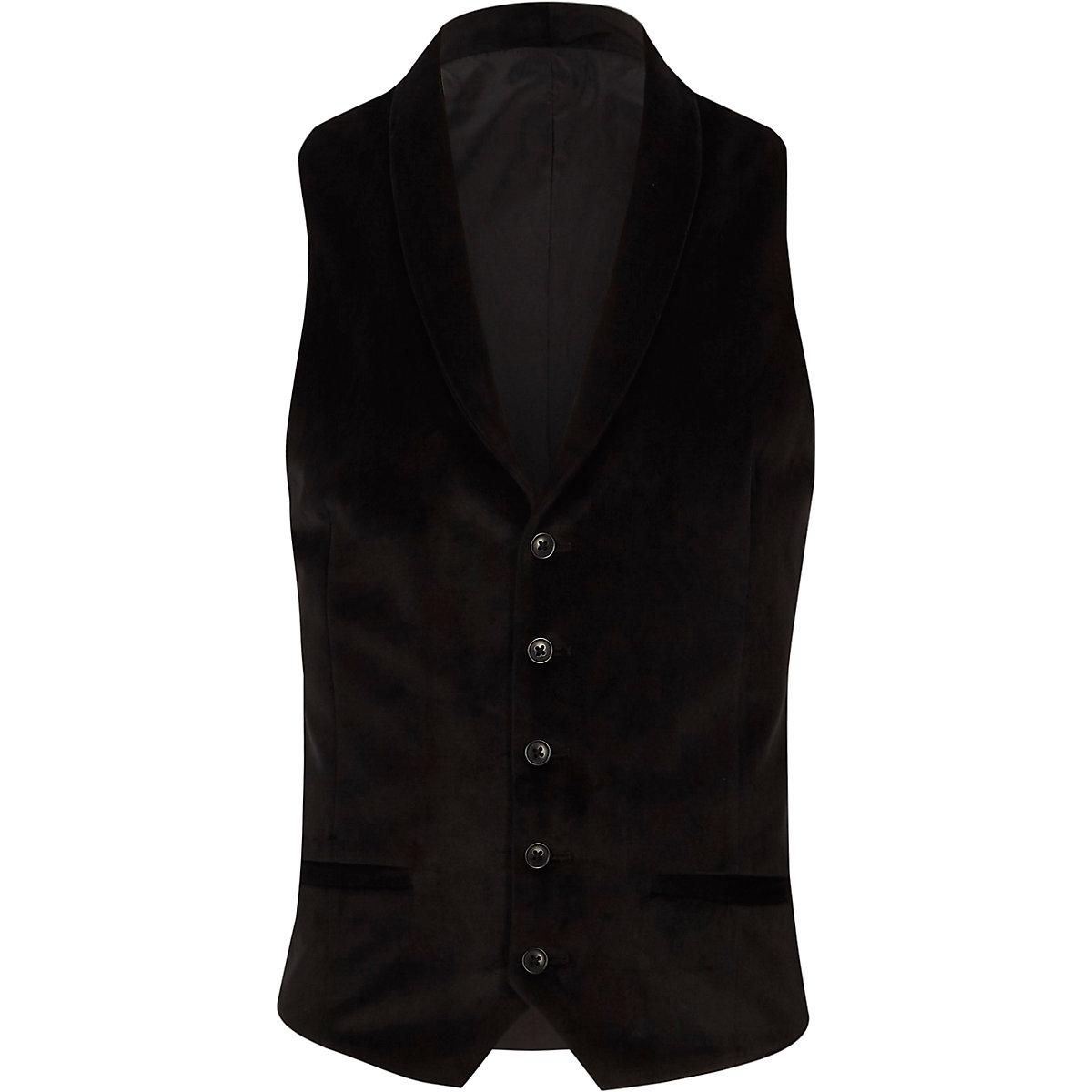Black smart velvet shawl lapel waistcoat