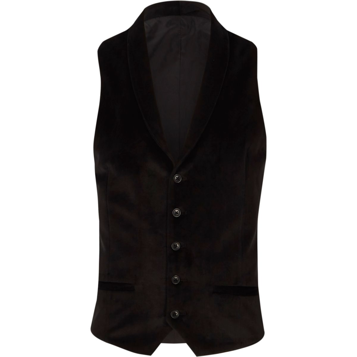 Black smart velvet shawl lapel vest
