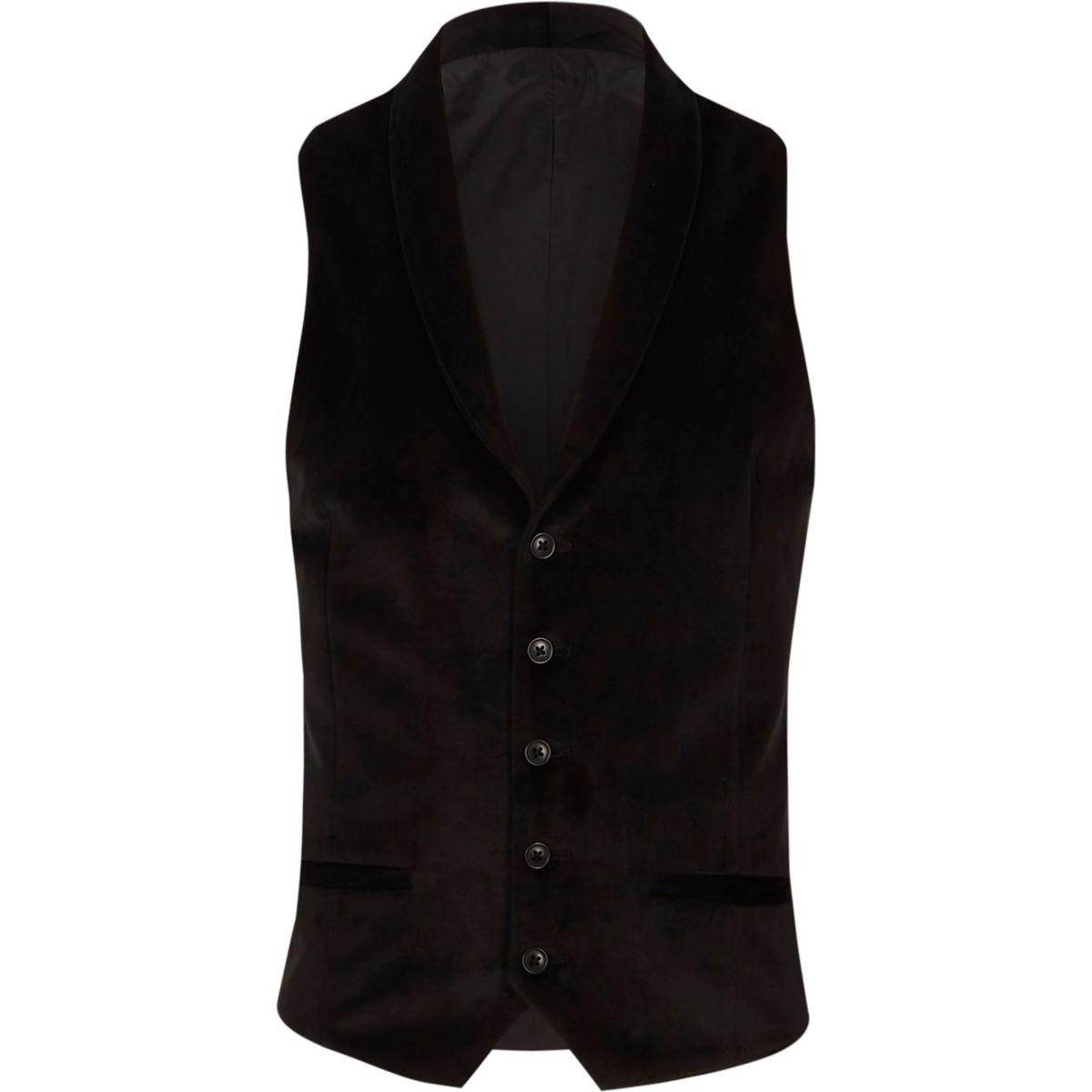 Gilet habillé noir à col châle