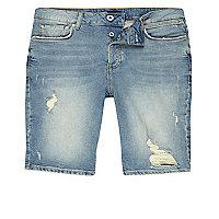 Light blue distressed skinny fit denim shorts