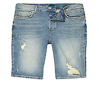 Light blue distressed skinny fit denim shorts