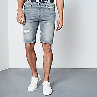 Ice grey wash skinny fit denim shorts