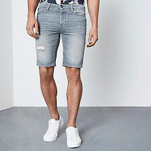Eisgraue Skinny Fit Jeansshort