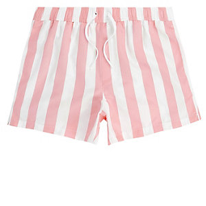 Pink stripe swim trunks