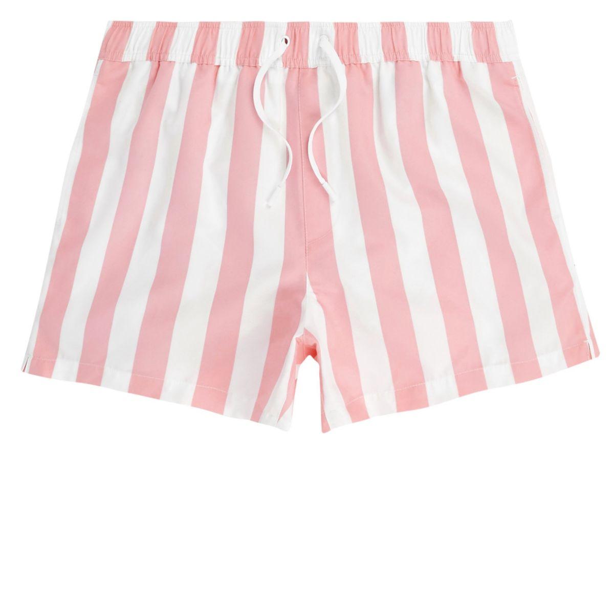 Pink stripe swim trunks