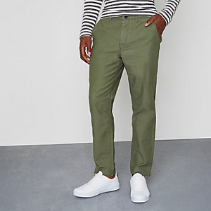 Khaki green tapered fit chino pants