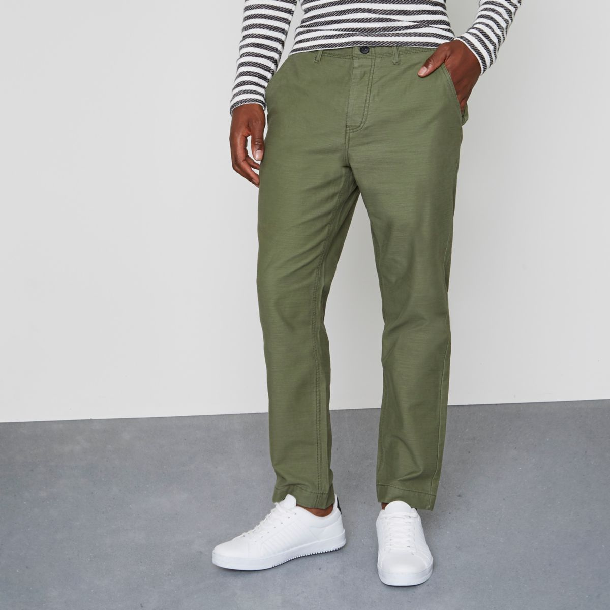Khaki green tapered fit chino trousers