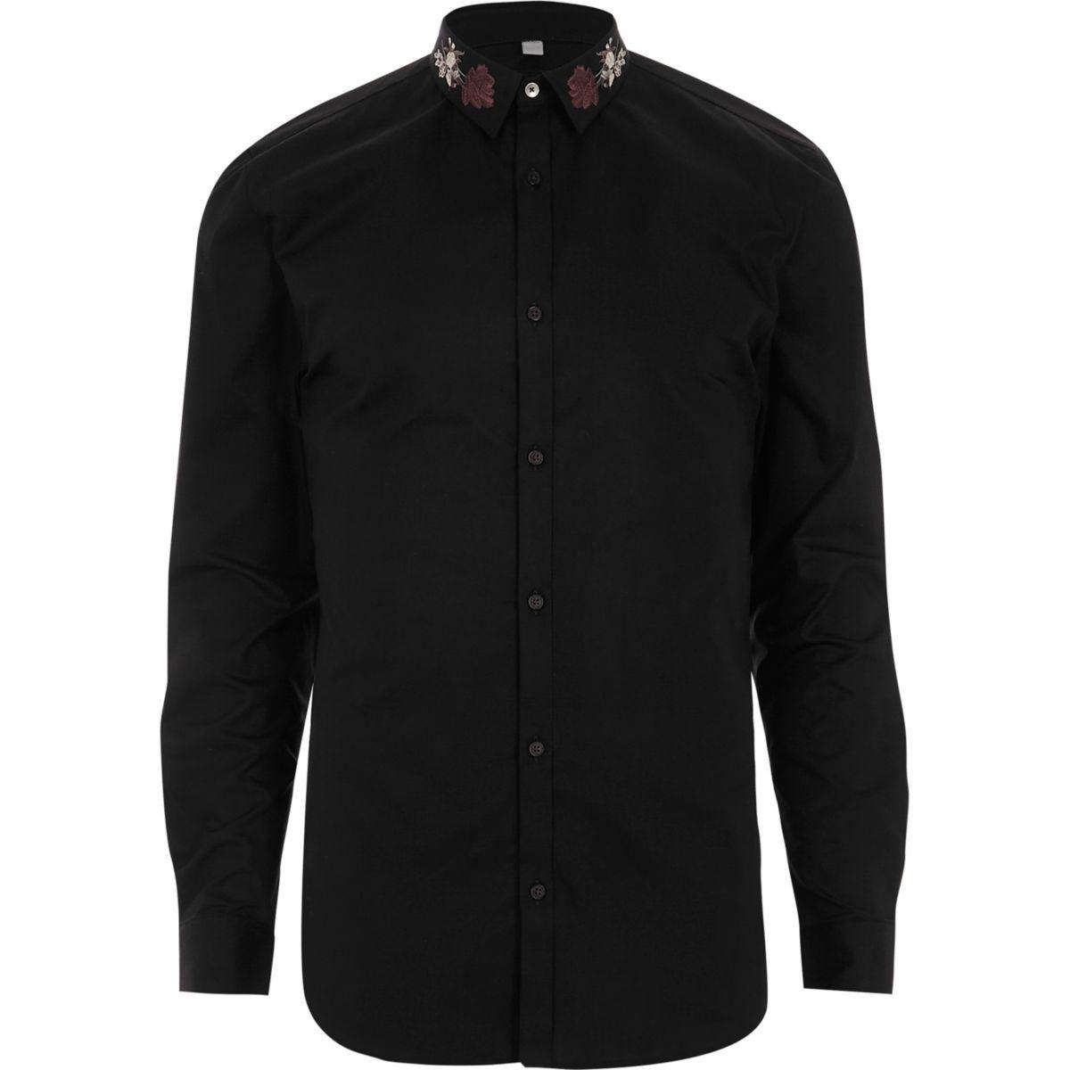 Schwarzes, verziertes Muscle Fit Hemd