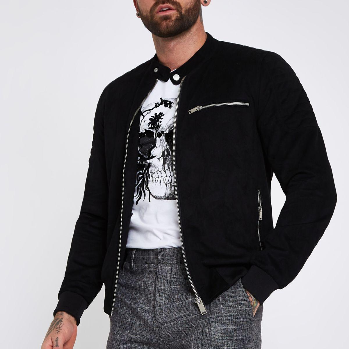 Black faux suede racer jacket