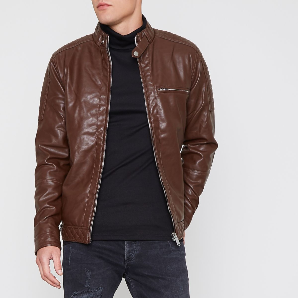 Dark brown faux leather racer jacket