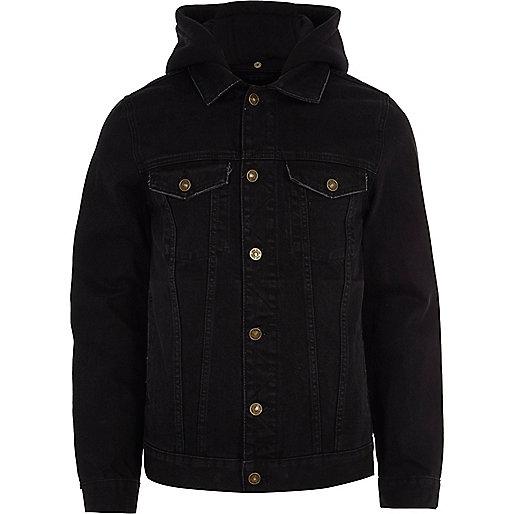 Black hooded denim jacket