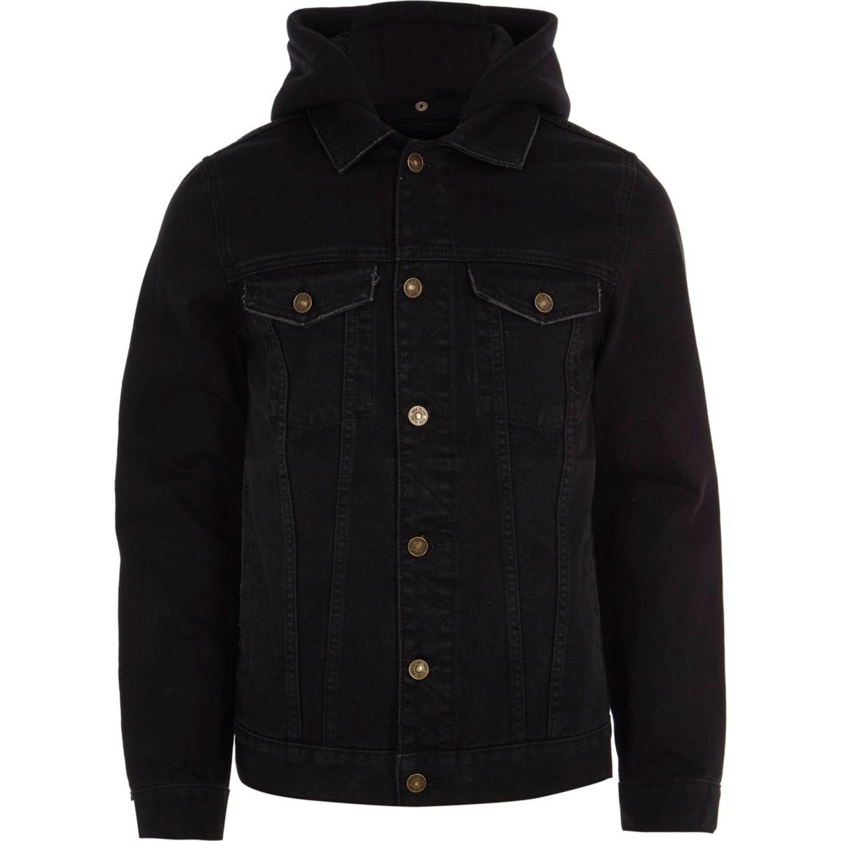 river island mens black hooded denim jacket bluewater. Black Bedroom Furniture Sets. Home Design Ideas