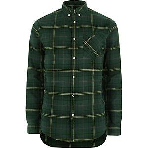 Donkergroen casual geruit overhemd