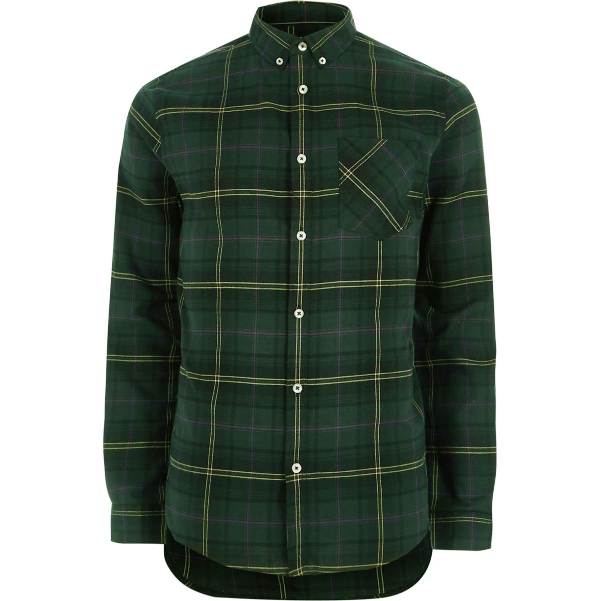 Dark green casual check shirt