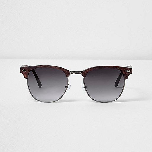 Brown wood effect half frame sunglasses