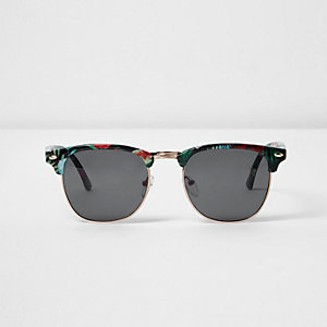 Black tropical half frame sunglasses