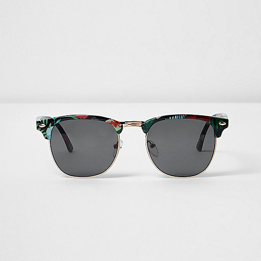 Black tropical half frame sunglasses